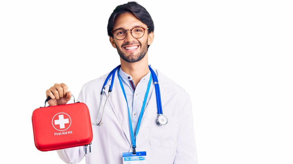 Hispanic Doctor Holding First Aid Kit